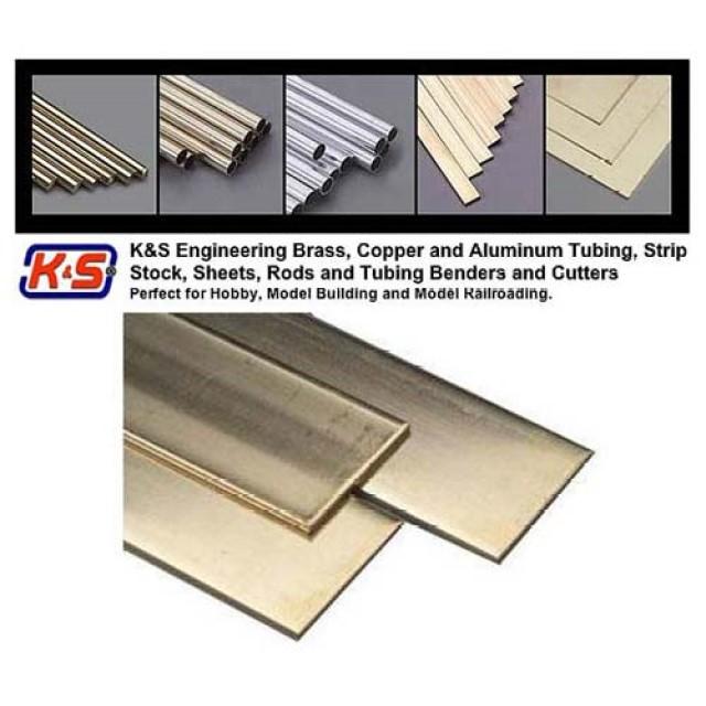 """(.025 X 1/4"""") 6.35mm x 0.64mm Brass Strips  - L = 304.8mm - (1 Pcs Per Card)"""