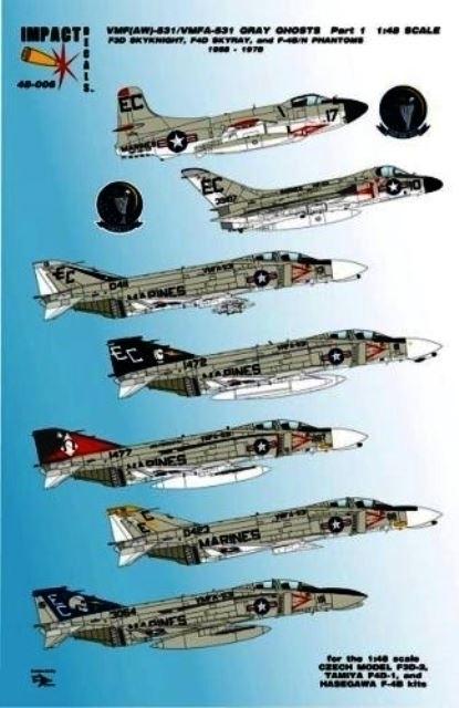 F3D Skynight F4D-1 Skyray F-4B Phantom VF(AW)-531/VMFA-531 Grey Ghosts