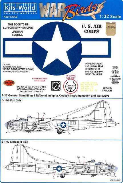 B-17 General Stenciling & National Insignia, Cockpit Instrumentation & Walkways