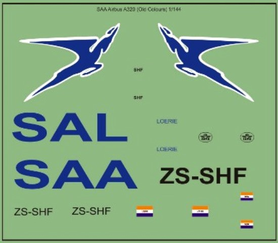Airbus A320 SAA (Old Colours) Decals