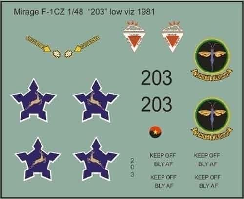 SAAF Mirage F-1CZ Low Viz 1982 Decals