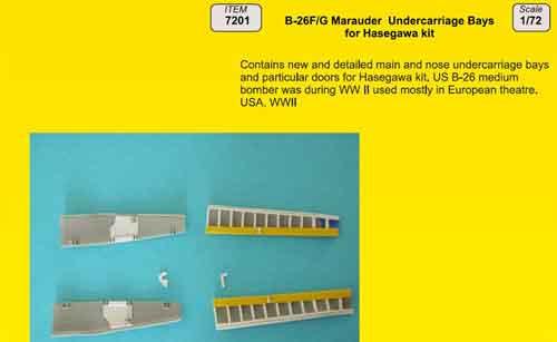 Martin B-26F/B-26G Marauder Undercarriage Bays (designed to be used Hasegawa kits)