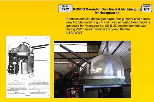 Martin B-26F/B-26G Marauder Gun Turret & Machine guns (designed to be used Hasegawa kits)