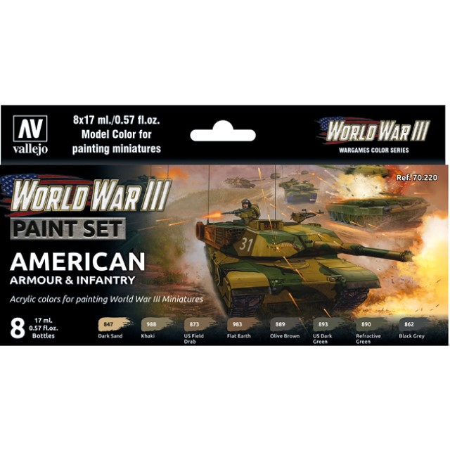 WWIII American Armour & Infantry (8 Colour Set)